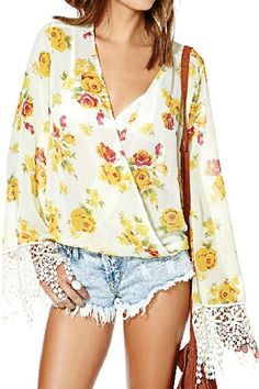 abaday V-neck Lace Cuffs Rose Print Loose Blouse - Fashion Clothing, Latest Street Fashion At Abaday.com