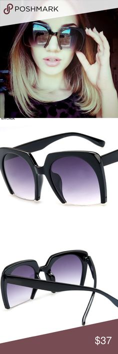 Blk bottom rimless sunnies Blk bottom rimless sunnies. Trendy and Chic! These glasses are a showstopper!!! New in package Accessories Sunglasses