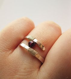 Garnet Ring Hammered Sterling Silver - Modern Contemporary Ring - Wire Wrapped Garnet Ring on Etsy, $35.00