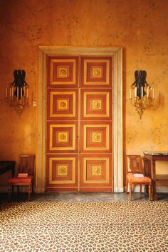 Detailed grand door in an interior by Madeleine Castaing