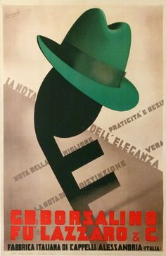 CHAPEAUX BORSALINO (1933) ANTIQUE VINTAGE POSTERS from BOCCASILE Gino