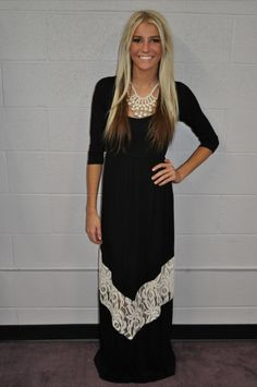 Modern Vintage Boutique - MVB 3/4 Sleeve Black and White Lace Maxi Dress, $52.00 (http://www.modernvintageboutique.com/mvb-3-4-sleeve-black-and-white-lace-maxi-dress.html)