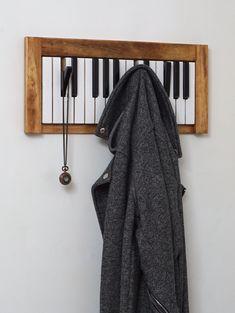 Piano Keyboard wooden coat rack / hanger / coat hooks / coatrack / hat rack / hatrack / wood / black and white / music / present Hanging Coat Rack, Coat Rack Shelf, Wooden Coat Rack, Wooden Hangers, Hanger Rack, Coat Hanger, Coat Hooks, Piano Crafts, No Closet Solutions