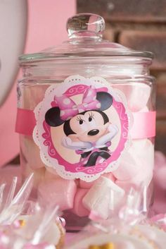 Minnie Mouse - pink and gold Birthday Party Ideas Minnie Mouse 1st Birthday, Minnie Mouse Baby Shower, Minnie Mouse Pink, Minnie Mouse Party, Mouse Parties, Pink And Gold Birthday Party, 5th Birthday Party Ideas, Birthday Party Decorations, Homecoming Mums