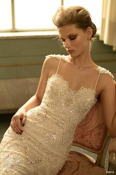 berta fall 2016 bridal spagetti strap sweetheart neckline geometric lace beaded embroidery mermaid wedding dress