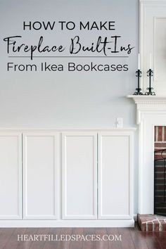 Learn how I installed these beautiful DIY Fireplace Built Ins from Ikea Billy Bookcases. I've included a detailed tutorial with pictures to help you. Ikea Fireplace, Bookshelves Around Fireplace, Built In Around Fireplace, Fireplace Built Ins, Bookshelves Built In, Bookshelf Diy, Bookshelf Design, Furniture Around Fireplace, Billy Ikea Hack