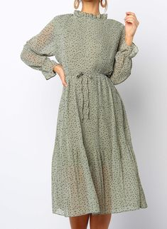 Polka dot pleated dress - Description- Cream with brown print- Light weight non-stretch fabric- Lined at bust and skirt, shee - Modest Dresses, Cute Dresses, Beautiful Dresses, Long Casual Dresses, Maxi Dresses, Dresses For Women, Mid Length Dresses, Midi Skirts, Modest Clothing