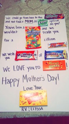 Mothers Day Candy Poster Card 2015