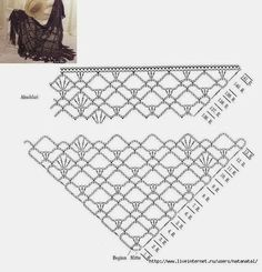 Lacy easy crochet schal in prevision of spring and summer! It only uses, ch, sc. Lacy easy crochet schal in prevision of . Crochet Shawl Diagram, Crochet Poncho Patterns, Crochet Shawls And Wraps, Granny Square Crochet Pattern, Crochet Chart, Crochet Scarves, Crochet Motif, Easy Crochet, Crochet Lace