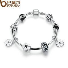 BAMOER 2016 New Simple Vintage Bracelets Silver Plated Pendant Bracelets with Black Flower Beads Girl Bracelet Jewelry PA3804