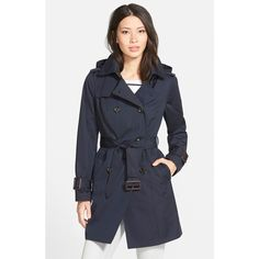 London Fog Heritage Trench Coat with Detachable Liner ($178) via Polyvore featuring outerwear, coats, navy, petite, petite coats, navy blue coat, trench coat, hooded toggle coat and quilted trench coat