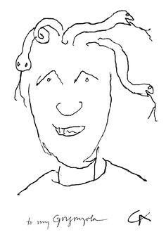 Alexander Calder sketch of Dominique de Menil