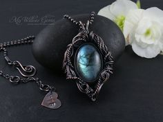 RESERVED - Chaos - Wire Wrapped Blue Green Flash Labradorite Necklace - Copper and Gemstone Pendant on Chain  - Aurora Borealis Collection