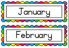 reenboog maande van die jaar/ rainbow months of the year - Teacha! Infant Activities, Educational Activities, Afrikaans, School Labels, Kids Poems, Purple Backgrounds, Poster On, Months In A Year, Rainbow