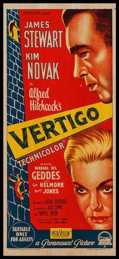 "WOOD PRINT of ""Vertigo"" movie poster. Cinema Movie Posters on WOOD for the Alfred Hitchcock movie lover. James Stewart and Kim Novak movie"