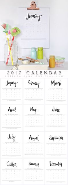 2017 Hand Lettered Calendar 2017 Free Hand Lettered Calendar, Delineate Your Dwelling Printable Planner, Free Printables, Planners, Project Life Freebies, Idee Diy, Bullet Journal Inspiration, Filofax, Getting Organized, Hand Lettering