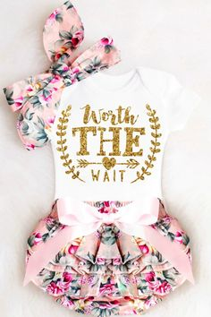 Worth the Wait Onesie, IVF Onesie, Rainbow Baby Onesie, Baby Girl Coming Home Outfit, Baby Girl Clothes Summer Newborn Take Home Outfit Floral Bloomers