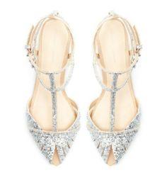 Zara Glitter Flat Sandals Silver Ankle Strap Open Toe Blog Sold Out US 8 EU 39 | eBay