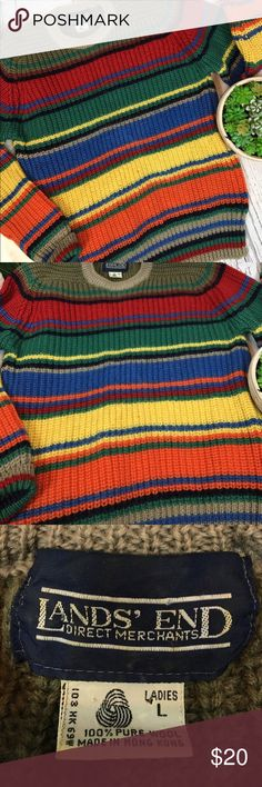 "Vintage Lands End Rainbow WOOL Sweater Ladies M AMAZING!!!!!!! This sweater is a TRUE Vintage GEM!! From Lands' End and made in Korea. It is pure 100% wool. Awesome vibrant rainbow pattern. Completely retro GORGEOUS!!! Women's Size Medium though it runs a tad smaller like vintage pieces tend to. In lovely condition with only minor wool balling & from a smoke free home!! Don't miss this one!!  Measurements (flat) Armpit to armpit: 20"" Armpit to bottom: 15.5"" Armpit to sleeve cuff: 22""…"