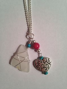 Sea Glass Charm Necklace with Silver Heart by DayDreamingDecor