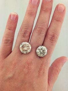 20 Carat Total Weight Round Diamond Stud Earrings Diamond Earrings Studs Round Diamond Earrings Studs Stud Earrings
