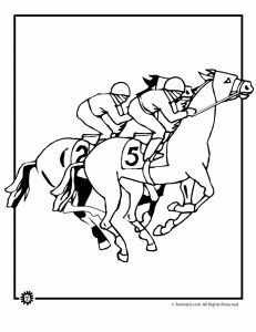 Horse Racing Coloring Page