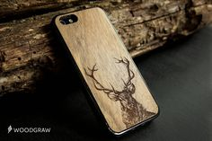 Deer Animals Wood Case Nature iPhone Cover 6, iPhone 7, iPhone 6S, iPhone 5s, iPhone 5C, iPhone 4S Polar Bear Wooden Gifts For Men WOODGRAW