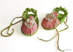 Baby pink crochet summer sandals / size 03M by MiaPiccina on Etsy, $16.00