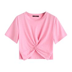 Cotton Twist Cropped Top ($30) ❤ liked on Polyvore featuring tops, cut-out crop tops, twist crop top, pink top, twist top and crop tops