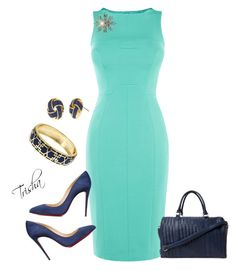 """""""Teal Dress"""" by pkoff ❤ liked on Polyvore featuring Christian Louboutin, Deux Lux and Fornash"""