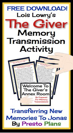 This fun, interactive simulation of Memory Transmissions in Lois Lowry's novel The Giver will allow students to empathize with Jonas, and also play the role of The Giver #TheGiver #LoisLowry #Teach