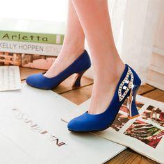 86814983cf9 High Heel Flock Shallow Mouth Round Toe Pumps - My Wedding Ideas Cheap Womens  Shoes