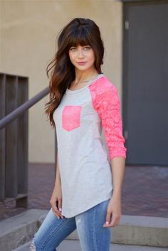 All The Right Lace Raglan Top - Neon Pink