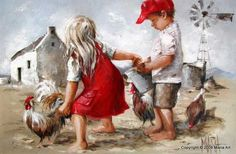 South African artist Maria Magdalena Oosthuizen paints figurative portraits emanating innocence and hope that pay tribute both to her devotion to God and her belief in the intrinsic goodness of the people of this world. Art And Illustration, Illustrations, Painting & Drawing, Watercolor Paintings, Arte Country, South African Artists, Chicken Art, Painting People, Lovers Art