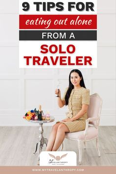 Click here to get 9 tips for eating out alone as a solo female traveler. If the idea of eating at a restaurant solo worries you, use these solo female travel tips to feel more comfortable eating in a restaurant alone. | solo travel tips | female solo travel tips | how to travel solo female | how to plan solo travel | how to travel by yourself | Solo Travel Tips, Car Travel, Packing Tips For Travel, Travel Alone, Travel Abroad, Travel Guides, Top Europe Destinations, Safety Tips, Volunteers