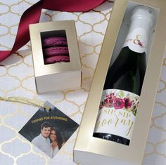 "A ""Sip Sip Hooray"" bridal shower with mini Champagne and macaron favors. Learn how to create these bridal shower favors. Garden Party Favors, Party Favors For Adults, Champagne Label, Mini Champagne, Christmas Favors, Christmas Wine, Custom Water Bottle Labels, Candy Themed Party, Sip Sip Hooray"