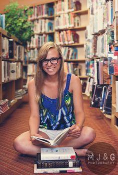 MaryJanes & Galoshes Photography #Senior #Girl #Library #Books