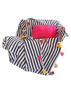 sort hvid stribet sengetæppe og plaid  150×245 1