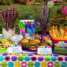 Use coordinating mini-signs on your buffet  Custom thank you notes are the perfect size to label your food items. We'll print your custom wording for you and have them ready in 5 days, or you can write your message yourself. Prop your labels up by each platter, and add a bright table cover and centerpiece to pull the whole look together.