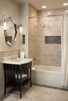 With creative small bathroom remodel ideas, even the tiniest washroom can be as comfortable as a lounge. Perfect-sized sink and countertop with minimalist shower represents the ideal small bathroom one should have. Small Bathroom Tiles, Bathroom Tile Designs, Hall Bathroom, Bathroom Renos, Bathroom Renovations, Bathroom Interior, Bathroom Ideas, Bathroom Gallery, Master Bathroom