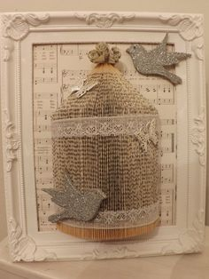 shabby chic  song bird cage Origami book folding art