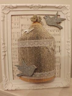 shabby chic song bird cage Origami book by littlemisssparklegy