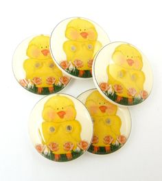 """5 Yellow Duck Buttons. 3/4"""" or 20 mm. Spring or Easter Sewing, knitting or crochet. Duck Buttons. by buttonsbyrobin on Etsy"""