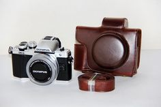 Coffee Leather Camera case bag for Olympus OM-D E-M10 Mark II w/ 14-42mm EZ lens #UnbrandedGeneric