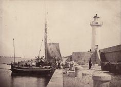 """CHARLES NEGRE, """"Le Phare Au Point Du Mole"""", Cannes, France, ca. 1860, albumen print, 4 1/2"""" x 6 1/2"""""""
