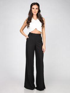 35dab2a13856 Hlače CARLA BY ROZARANCIO  black white fashion  double color  black pants   long pants  black trousers  white top  long hair