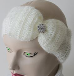 Crocheted Cream Headband With Big Bow and Crystal by BYBERRDESIGNS, $22.75