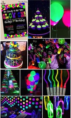 Party Themes- Neon Glow in the Dark Party Ideas- glow party pics, neon party pic… - DIY Ideen Neon Birthday, 13th Birthday Parties, Birthday Party For Teens, Sleepover Party, Teenage Girl Birthday, Birthday Celebration, Cake Birthday, Cool Birthday Ideas, 18th Birthday Party Themes