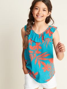 79249204e01 Old Navy Girls' Printed Ruffled V-Neck Slub-Knit Tops Turquoise Floral  Regular