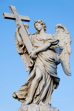 """by-grace-of-god: """" Ten angels holding instruments of the Passion Ponte Sant'Angelo, Tiber River, Rome """" Angel Sculpture, Sculpture Art, Baroque Sculpture, Crucifix Tattoo, Statue Ange, Statue En Bronze, Gian Lorenzo Bernini, Cemetery Angels, Cross Tattoo For Men"""